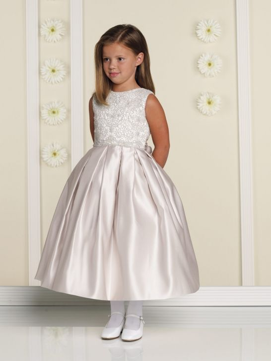 d3674526503 Elaborate Crystal Beading Sleeveless Satin And Tulle Jewel Neck Flower Girl  Dress