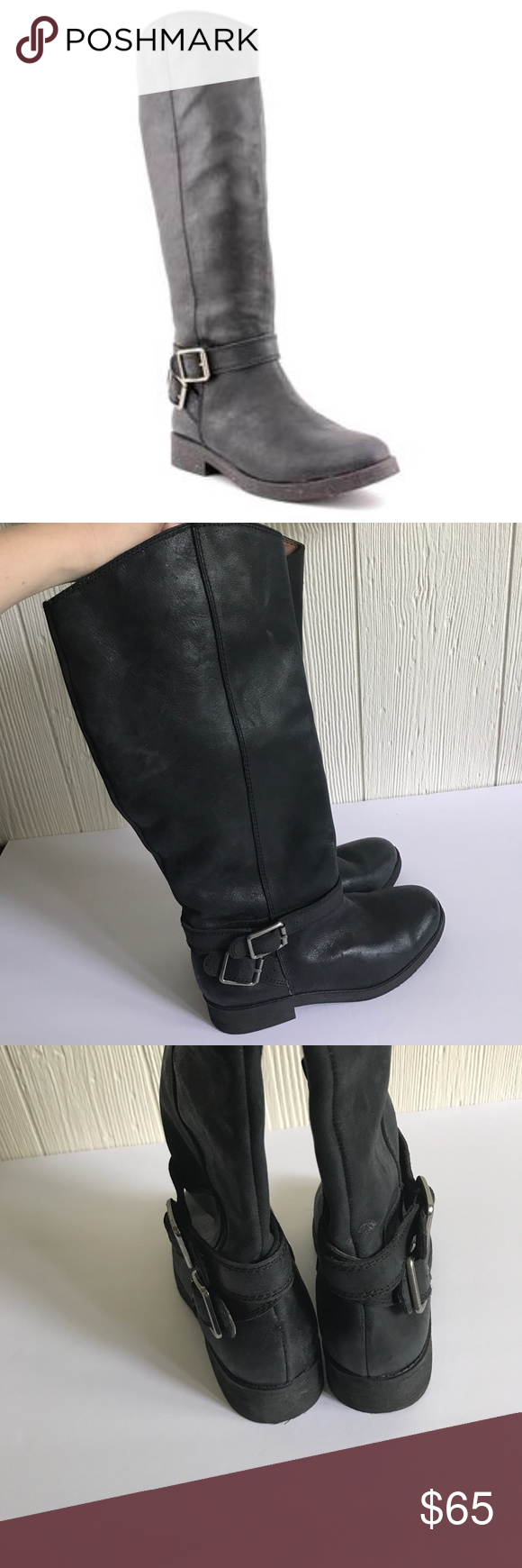 EUC lucky brand leather falta boots Soft leather boots in great condition! Zipper closure on inner aspect with buckle detail on outer aspect Lucky Brand Shoes Combat & Moto Boots
