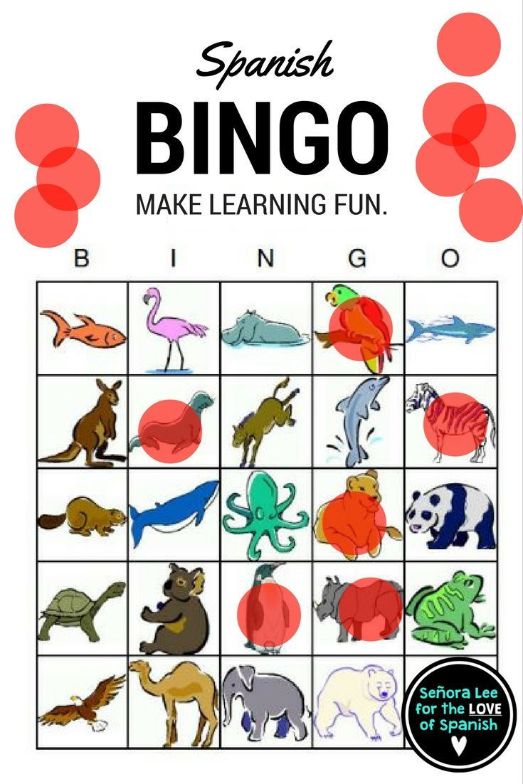 My students LOVE bingo! Have fun learning 25 Spanish animals. Includes 25 animal vocab words, 40 bingo cards (printed 2 per page) and a call list. Print in color on cardstock & laminate!