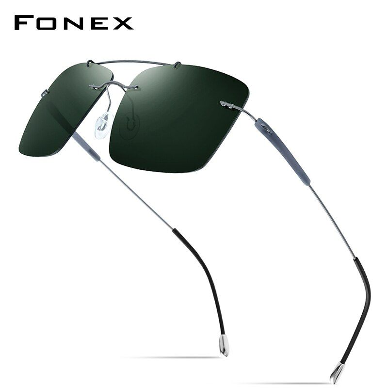 Ultralight Titanium Polarized Photochromic Lenses Square Men Rimless Sunglasses