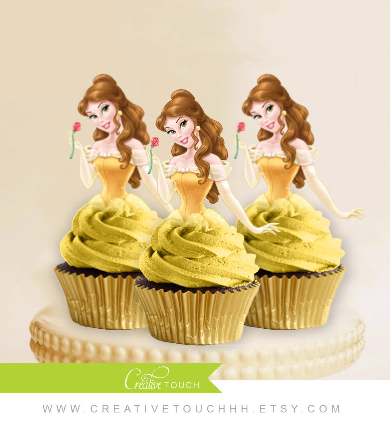 Belle Cupcake Toppers, Princess Belle, Beauty And The Beast, Disney Princess, Belle Birthday, Belle Party, Belle Cake Topper, Decoration by CreativeTouchhh on Etsy https://www.etsy.com/listing/241786047/belle-cupcake-toppers-princess-belle