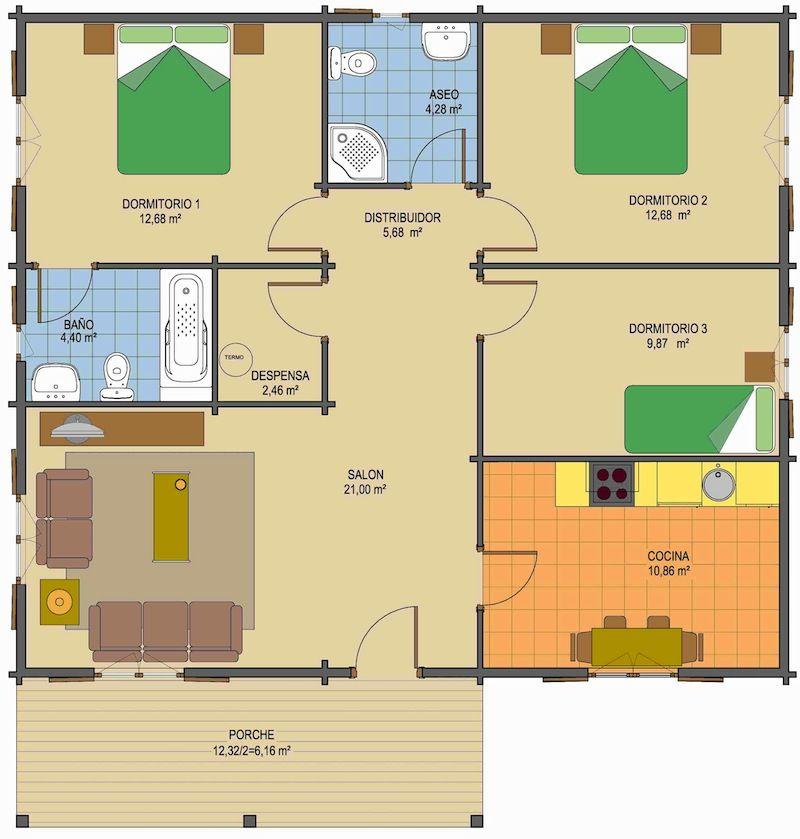 Planos de casas con 3 dormitorios y dos ba os de una for Dormitorio 10 metros cuadrados