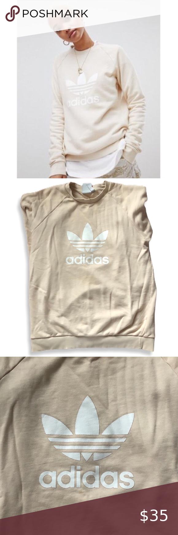 Adidas Cream Trefoil Oversized Sweatshirt Oversized Sweatshirt Sweatshirts Adidas Tops [ 1740 x 580 Pixel ]