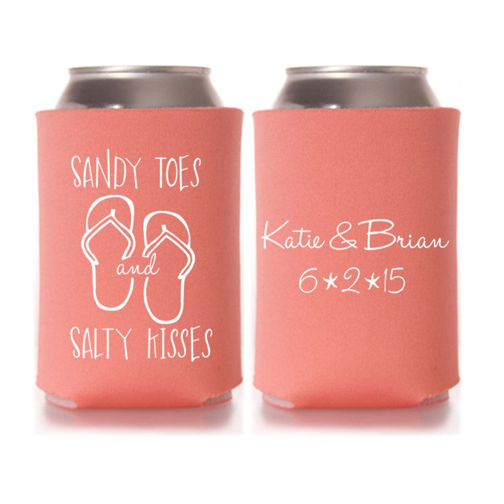 Personalized Sandy Toes and Salty Kisses Beach Wedding Koozies ...