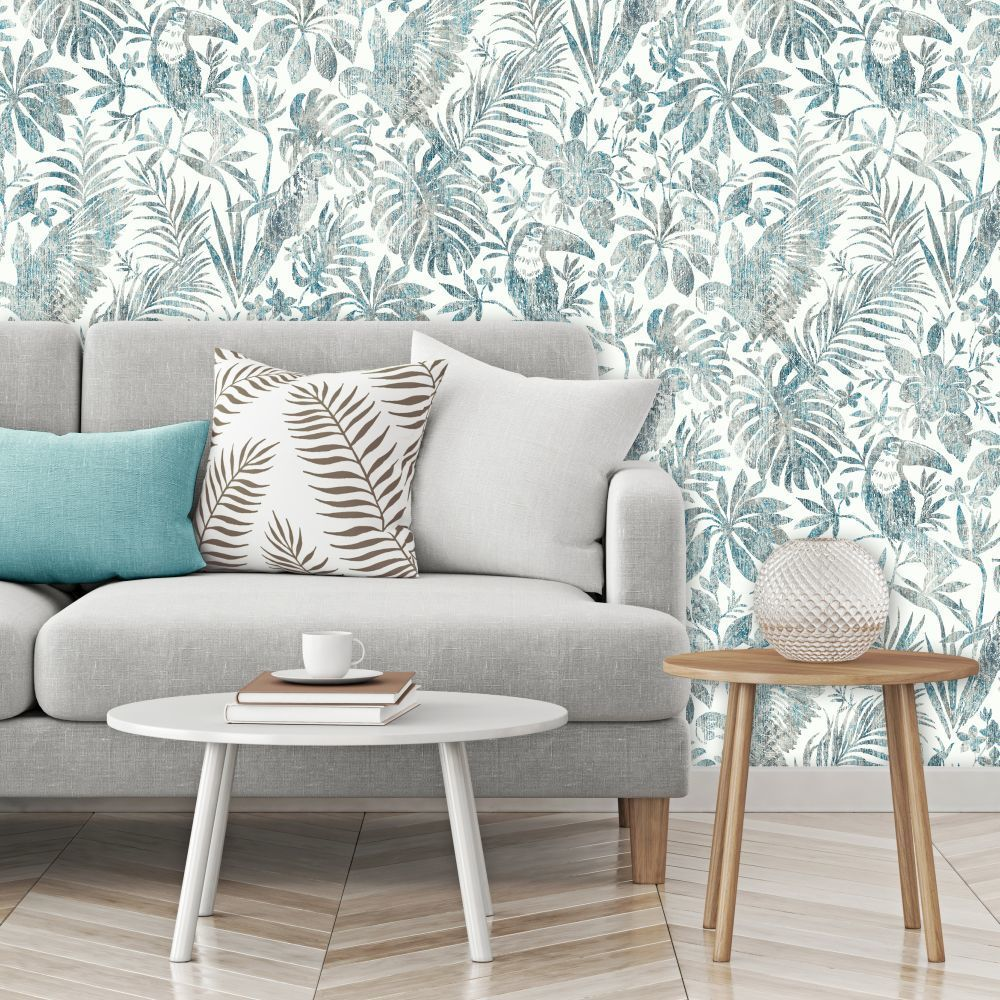 Distressed Jungle Blue In 2020 Coral Wallpaper Wallp