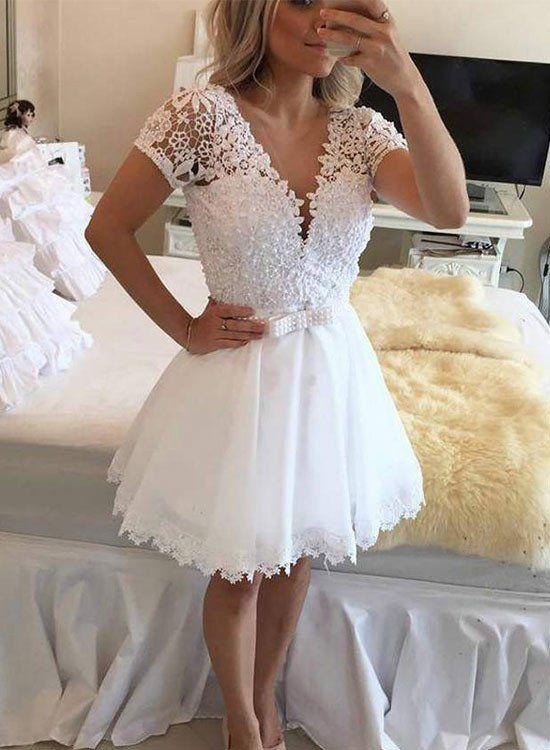 White A Line Lace Tulle Short Prom Dress White Evening Dress Short Wedding Dress Elegant Homecoming Dresses Lace Homecoming Dresses