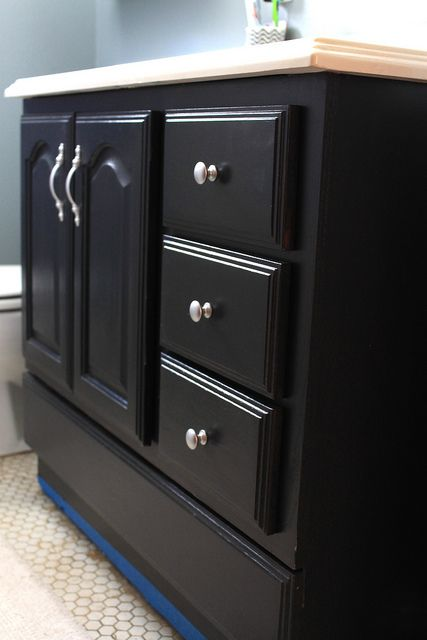 Bathroom Cabinets Black bathroom vanity makeover with chalk paint | paint bathroom