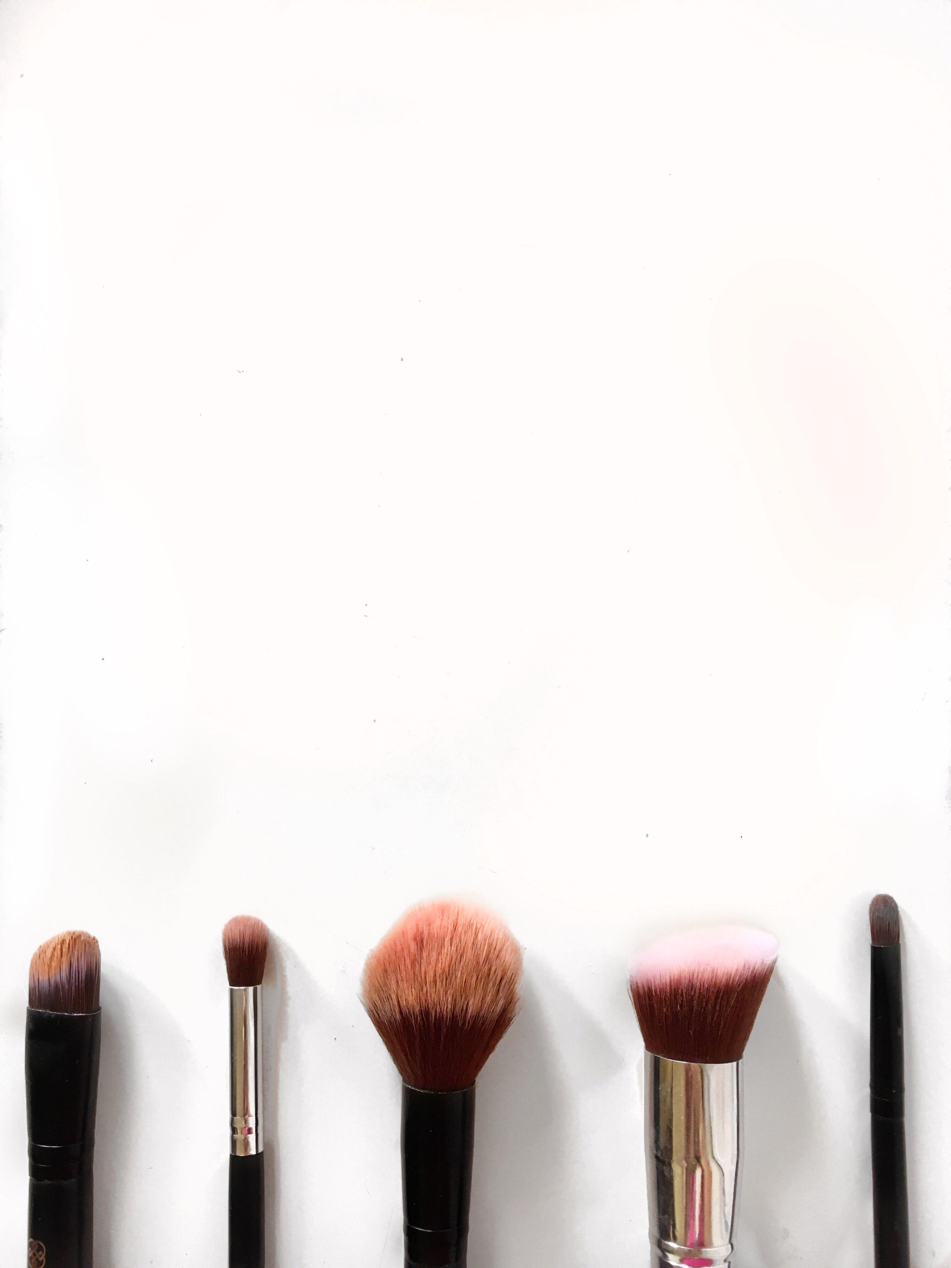 Makeup Brushes Flatlay White Background