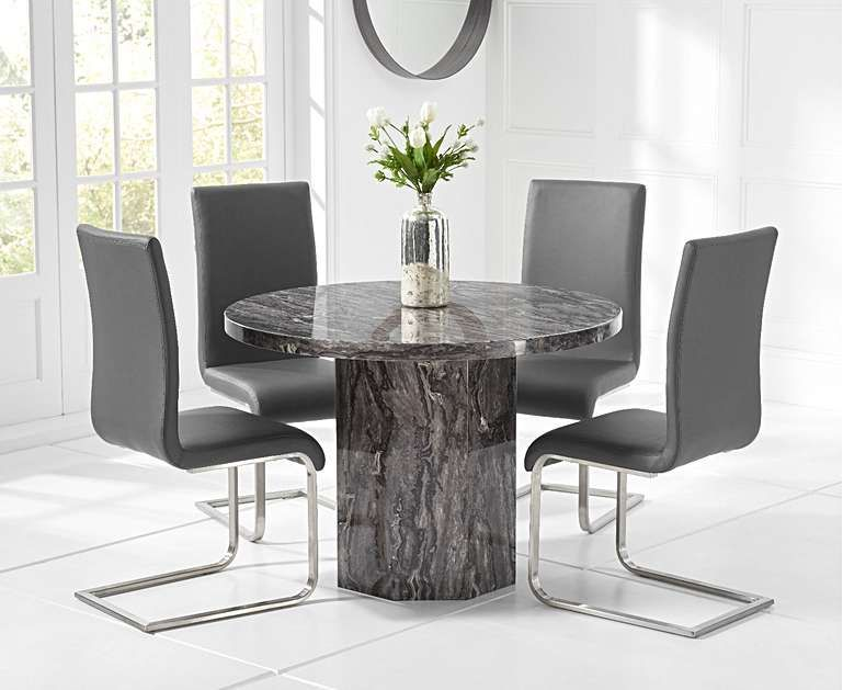 Crema Grey Round Marble Dining Table With Malaga Chairs Dining Table Marble Grey Dining Tables Grey Round Dining Table