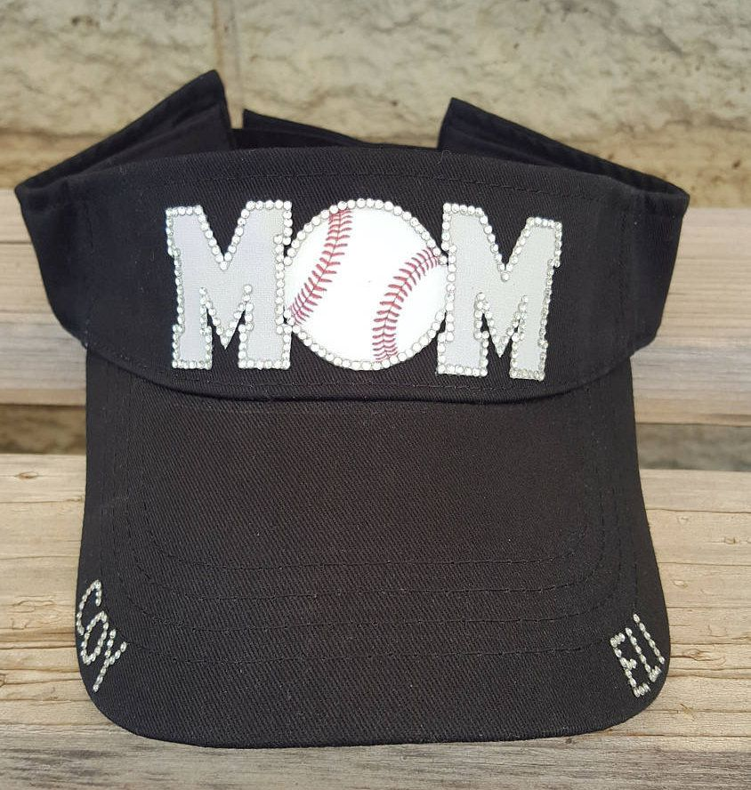 ed8b40caa13 Bling Baseball Mom Hat Visor