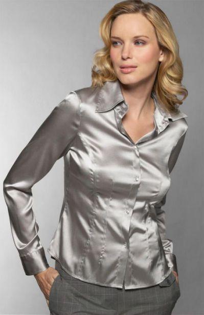 cc08bff9254 Silver satin blouse
