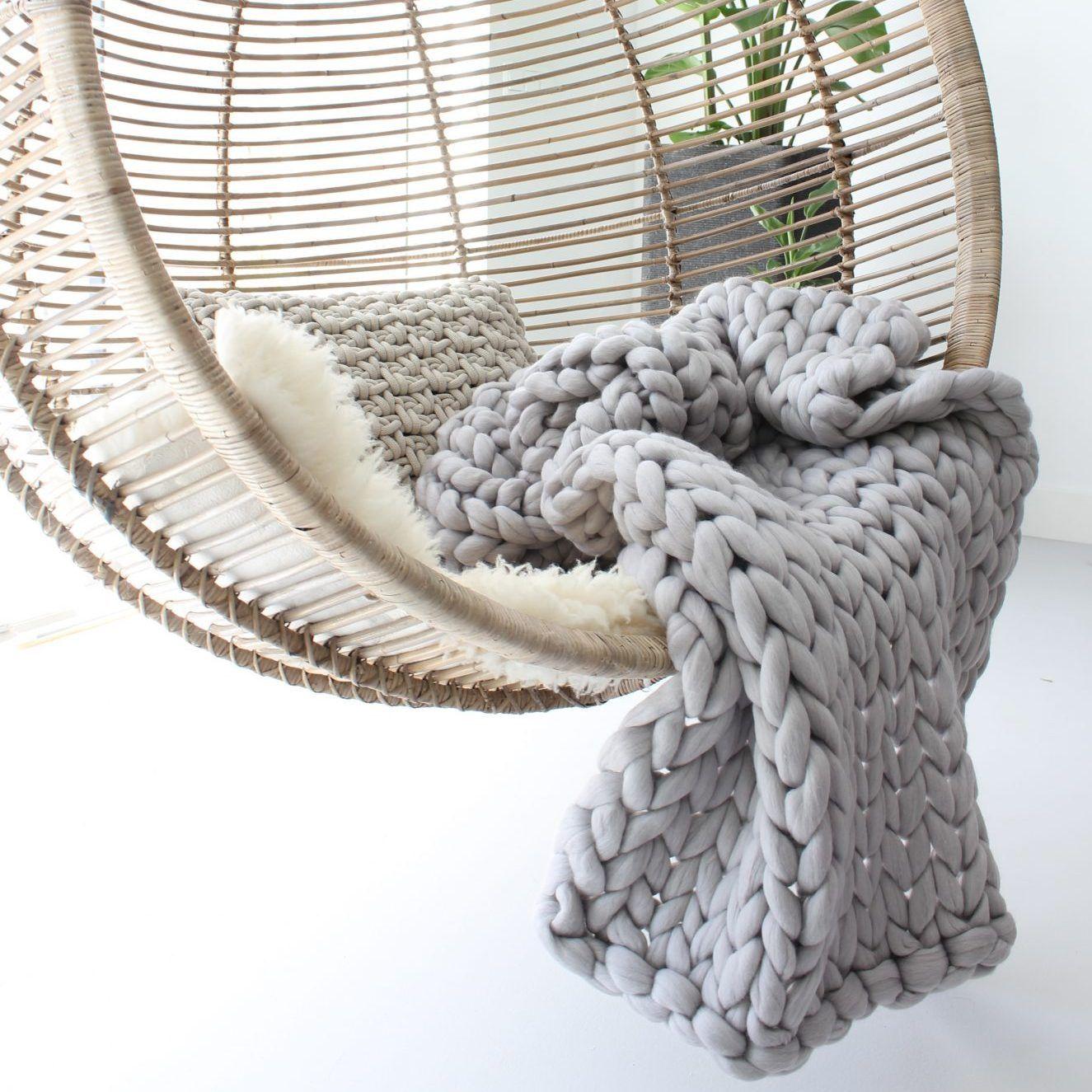 Photo of Silver grey throw   100% organic merino wool   handmade   Worldwide shipping