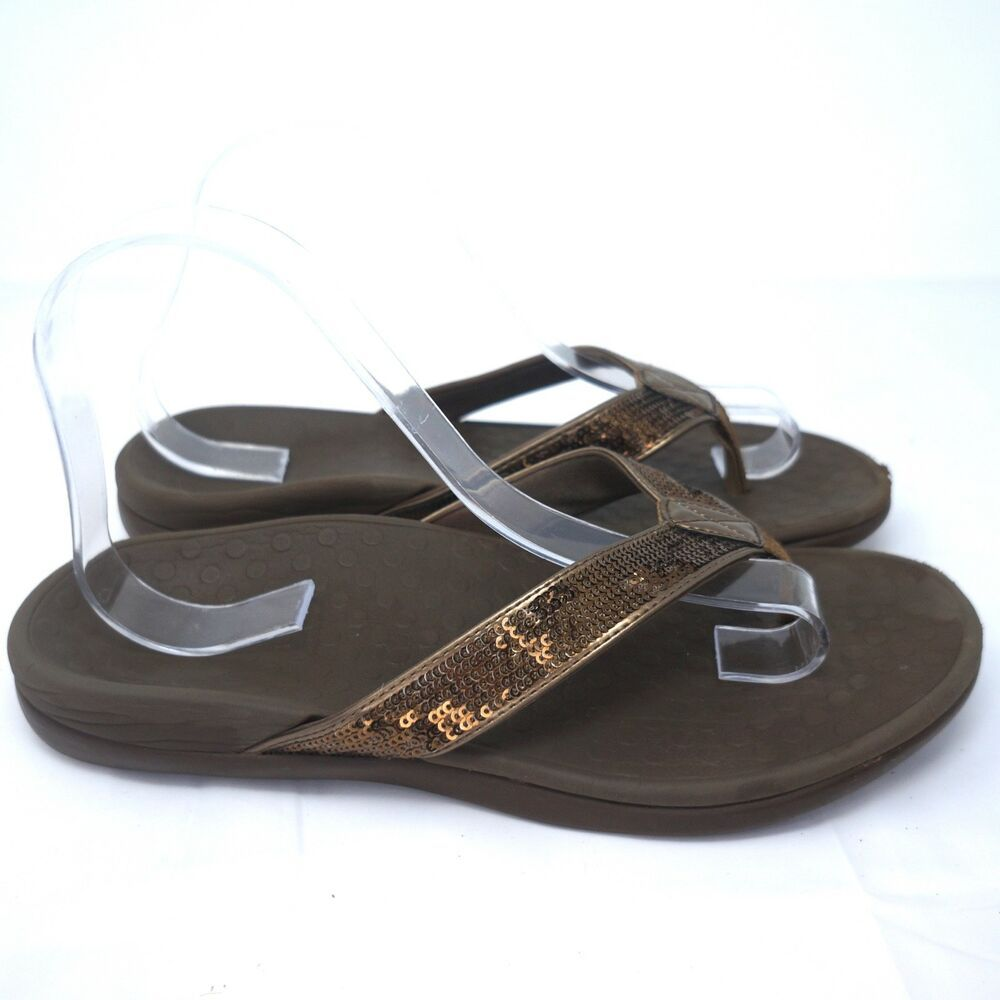 b8e2e67a356 Vionic Tide Sequin Sandals Flip Flops Brown Rubber Women Size US 9  Vionic   FlipFlops