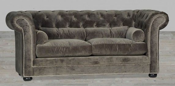 Grey Velvet Sofa Chesterfield Style Silver Button Tufted With