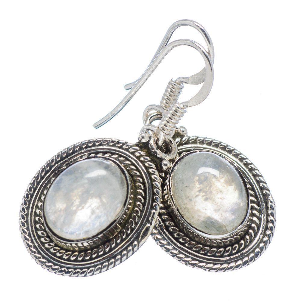 """Rainbow Moonstone 925 Sterling Silver Earrings 1 1/4"""" EARR315681"""