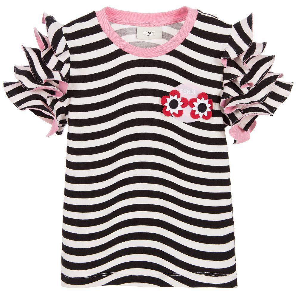 Black t shirt with white stripes - Fendi Girls Black White Striped T Shirt