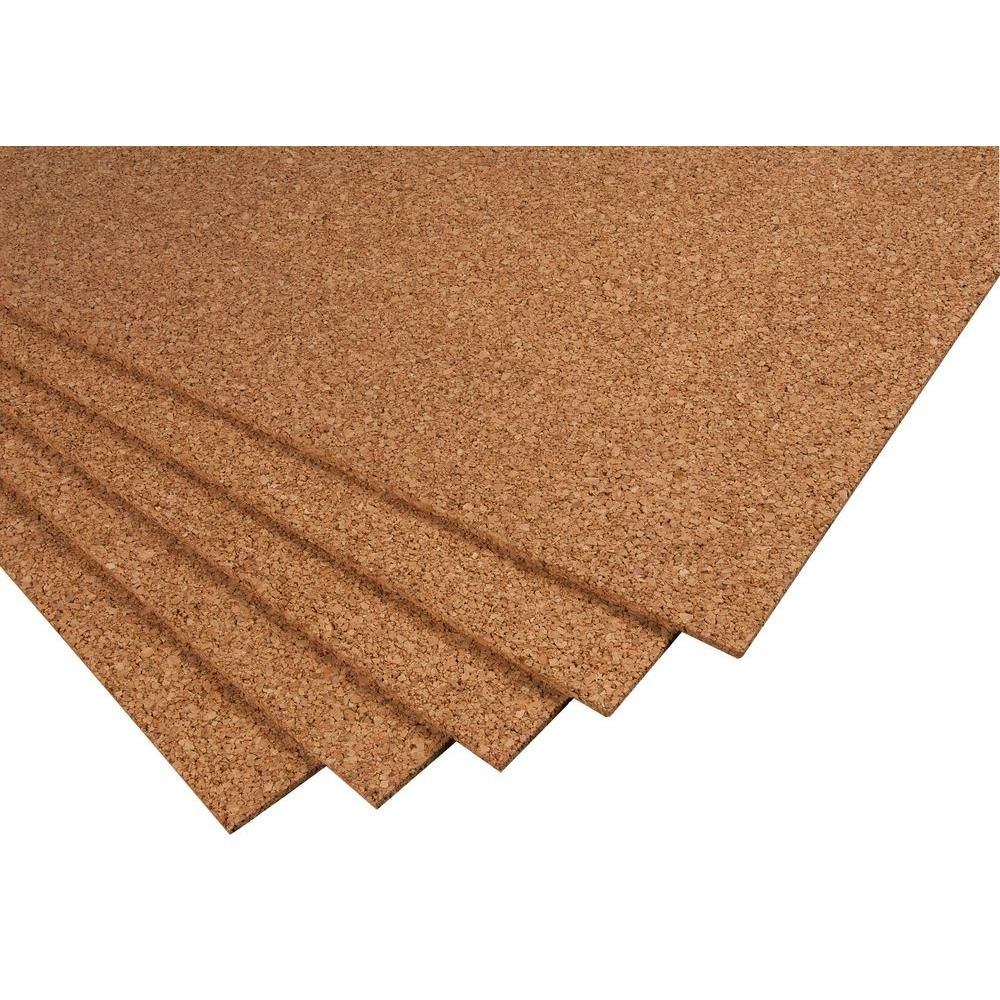 Qep 2 Ft X 3 Ft X 1 4 In Cork Underlayment Sheet 30 Sq Ft 5 Pack 72005q The Home Depot Cork Underlayment Underlayment Types Of Flooring