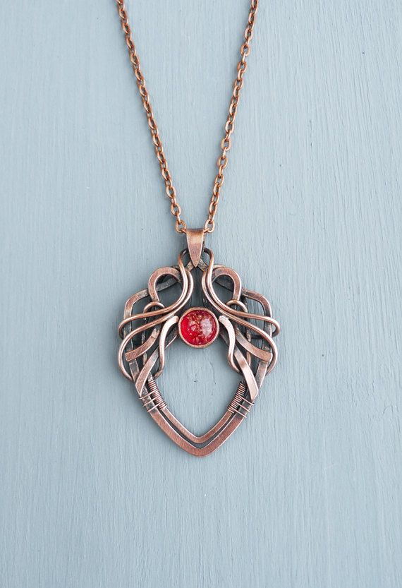 Wire wrapped necklace with glass cabochon Elvish pendant by UrsulaJewelry