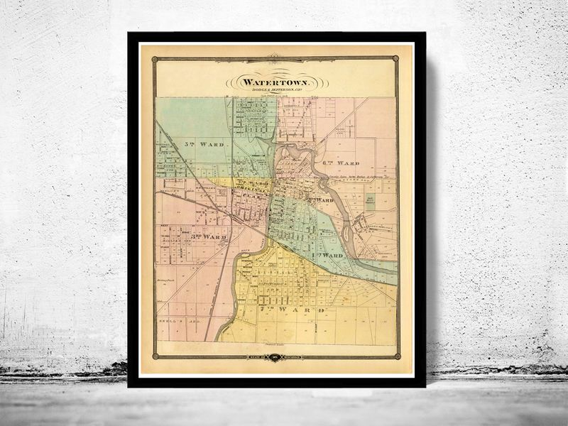 Old Map of Watertown Wisconsin is a