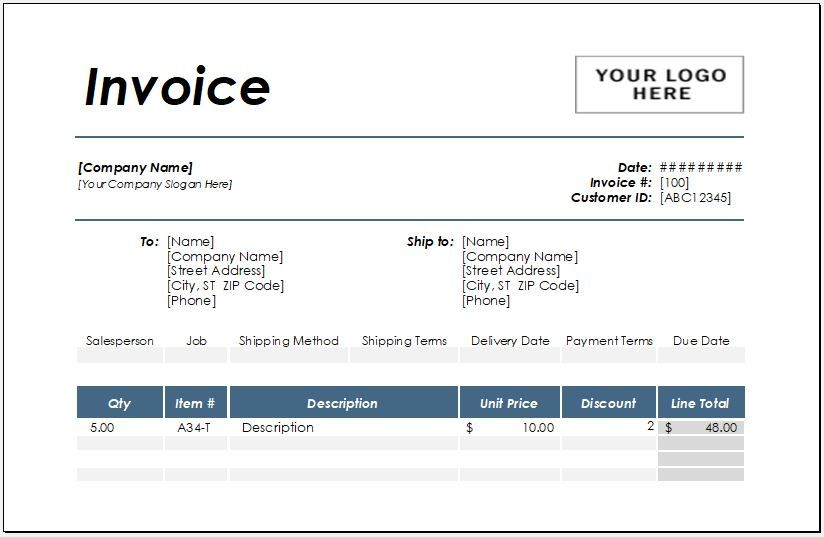 Hotel Invoice Template For Excel Excel Invoice Templates In 2021 Invoice Template Invoice Templates Templates