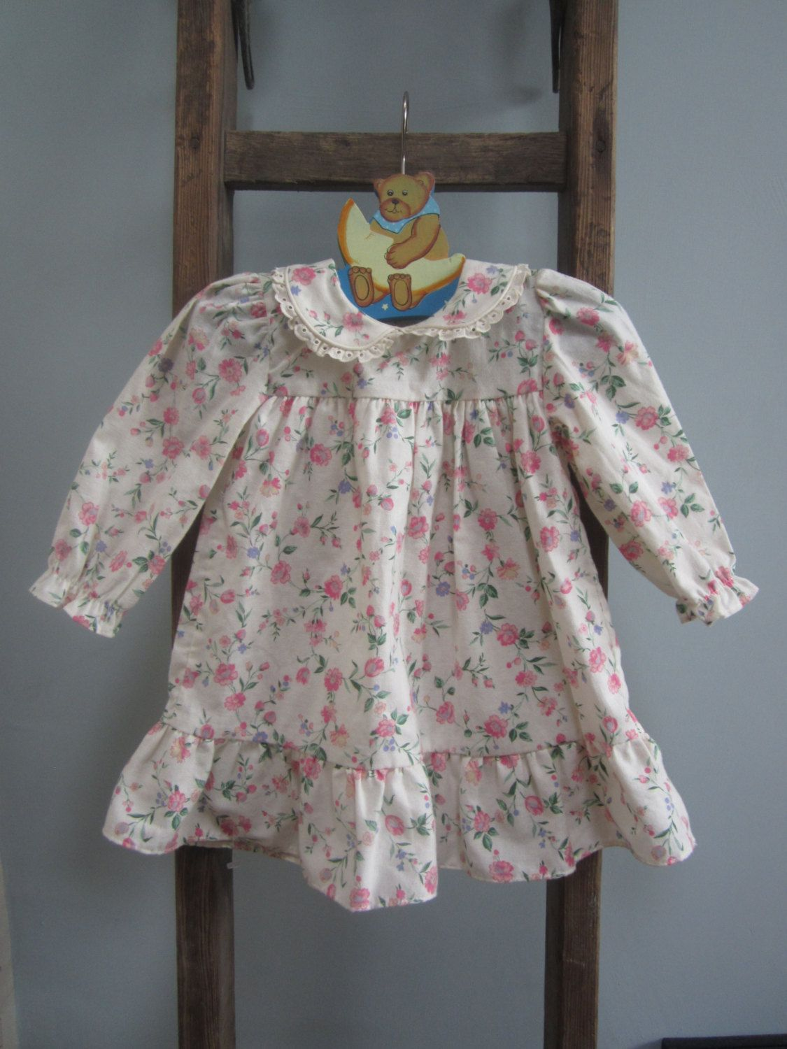 1406926480 Baby girl dress cream pink flowers peter pan lace collar toddler ...