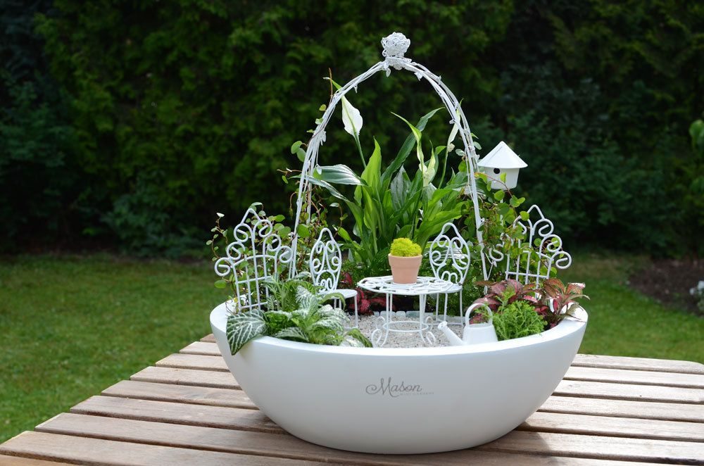 romantik miniaturgarten mini garden set romantic pflanzschale 33 cm beides von mason mini. Black Bedroom Furniture Sets. Home Design Ideas