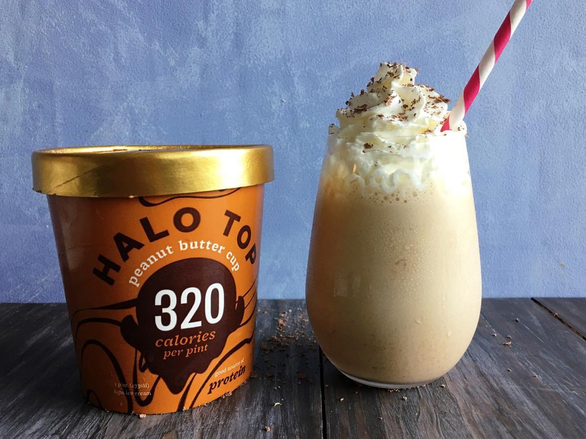 Peanut Butter Cup Halo Top Milkshake Recipe Recipe Low Calorie Ice Cream Peanut Butter Shake Peanut Butter Cups