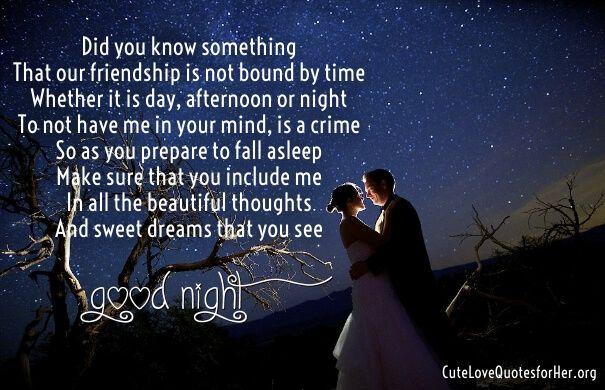 Good Night Love Poems | Romantic good night, Love poem for