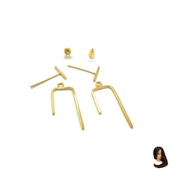 hair highlights simple Silver staple bar ear jackets gold line ear jackets two way bar earrings double sided earrings front back wire ear jackets double earrings        Mira este artículo en mi tienda de Etsy: /...