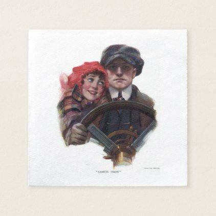 Classic car romantic winter vintage illustration napkin | Zazzle.com