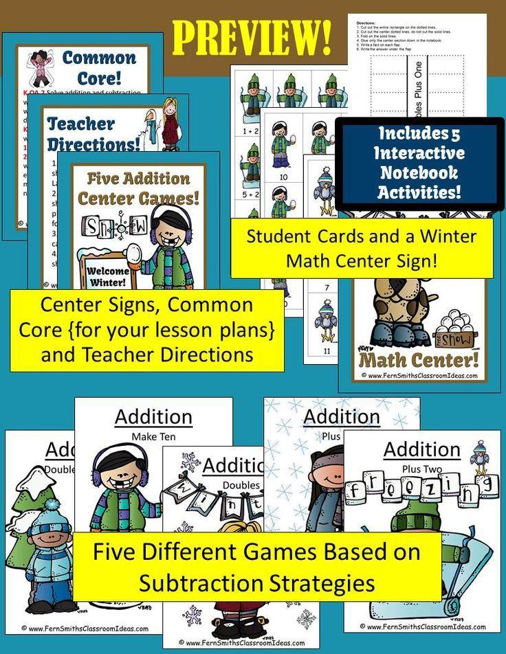 Winter Math Center Addition Math centers, Interactive