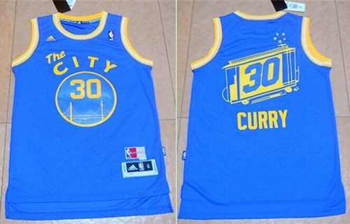 dace8fb43 Warriors #30 Stephen Curry Blue Throwback The City Stitched NBA Jers ...
