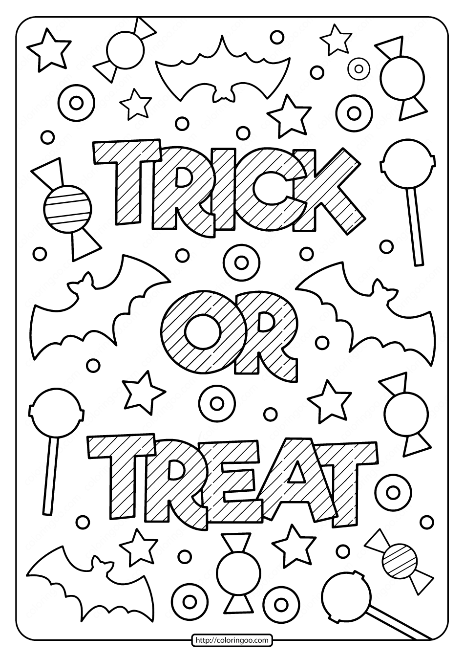 Printable Trick Or Treat Coloring Pages Coloring Pages Cute Coloring Pages Procreate Ipad Art