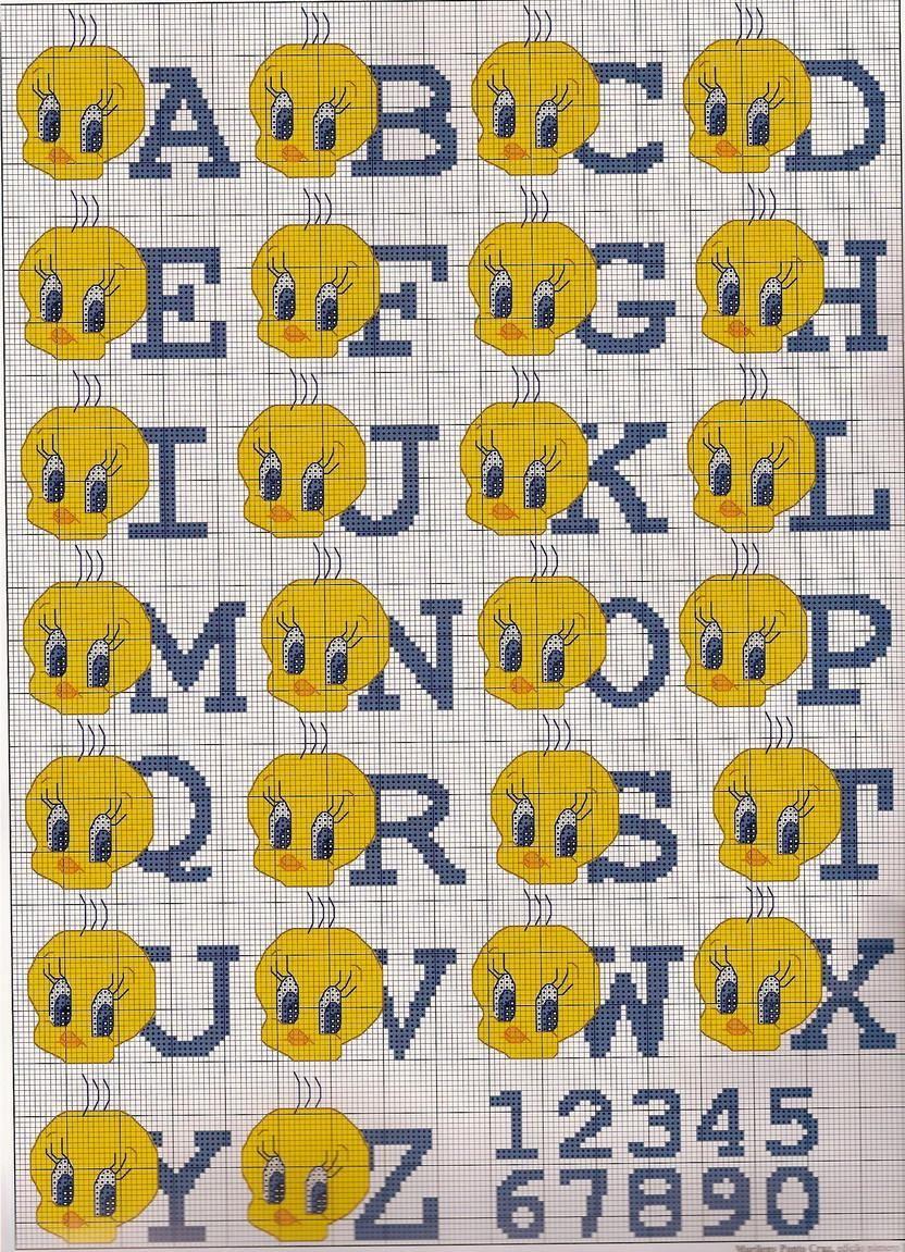 Schema punto croce Alfabeto titti