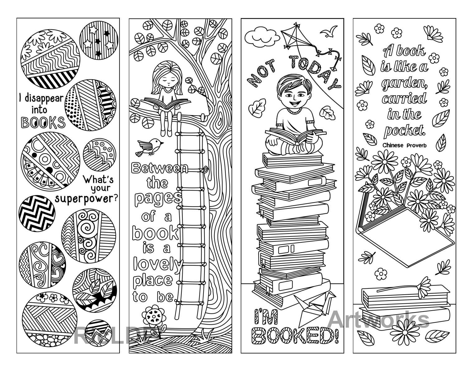 Coloring quotes printables - 8 Coloring Bookmarks With Quotes On Books And Reading Printable Coloring Bookmarks With Quotes
