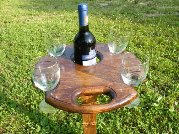 Outdoor Wine Table With Glass Holders By Nwpabackwoods On