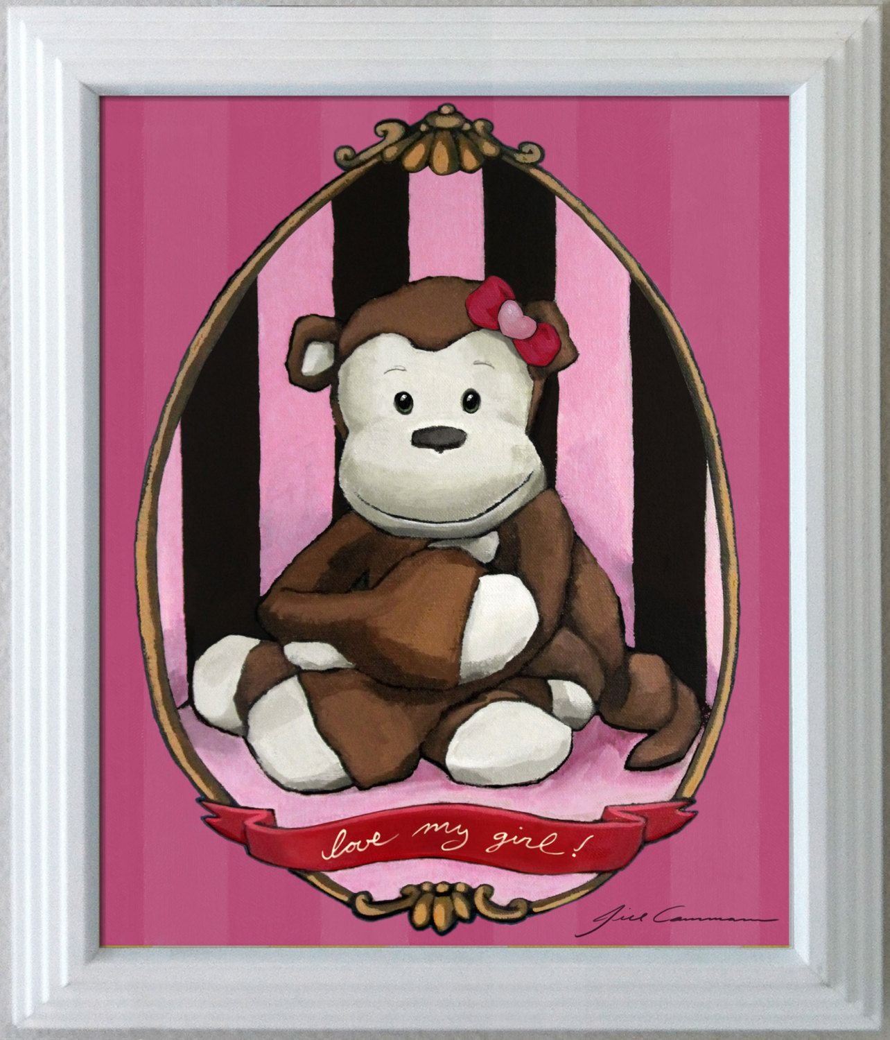 My Little Monkey print for nursery childrens' by PlushPortraits