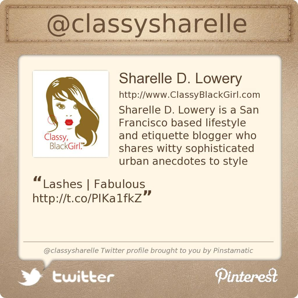 @classysharelle's Twitter profile courtesy of @Pinstamatic (http://pinstamatic.com)