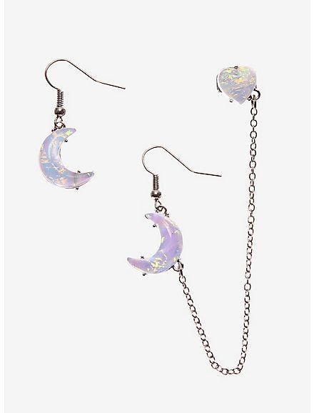 Set Upper Adalah : upper, adalah, Heart, Moonstone, Earring, Earrings,, Jewelry,, Earrings