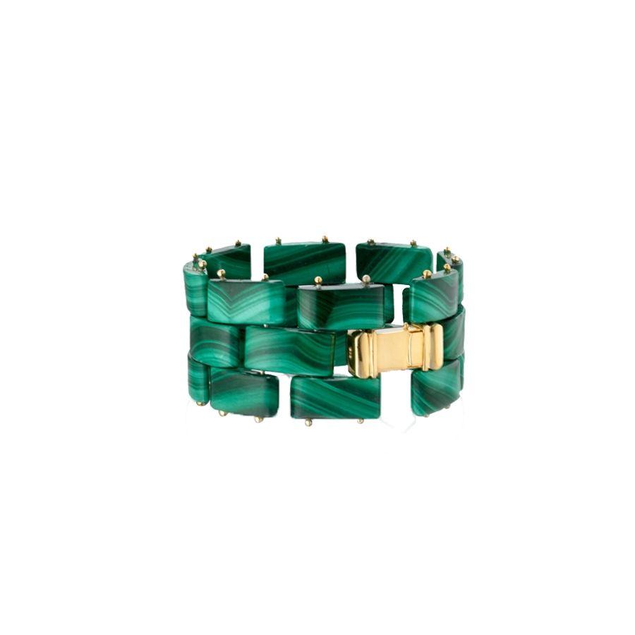 18k Gold Vermeil Cuff with Malachite Links | Jewelry | The Editorialist