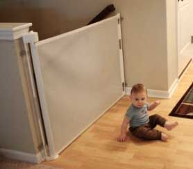 Retractable Baby Gate At Top And At Bottom Of The Stairs Completely Out Of The Way When It S Not Needed The Retractable Baby Gate Baby Gates Baby Proofing