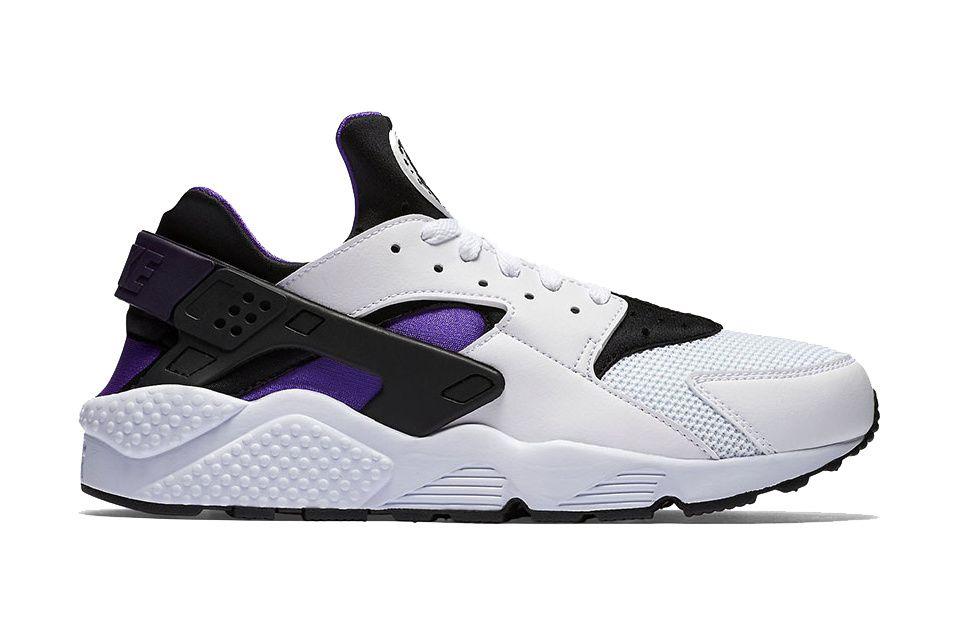 shoes, huarache, huarache black purple, purple, nike
