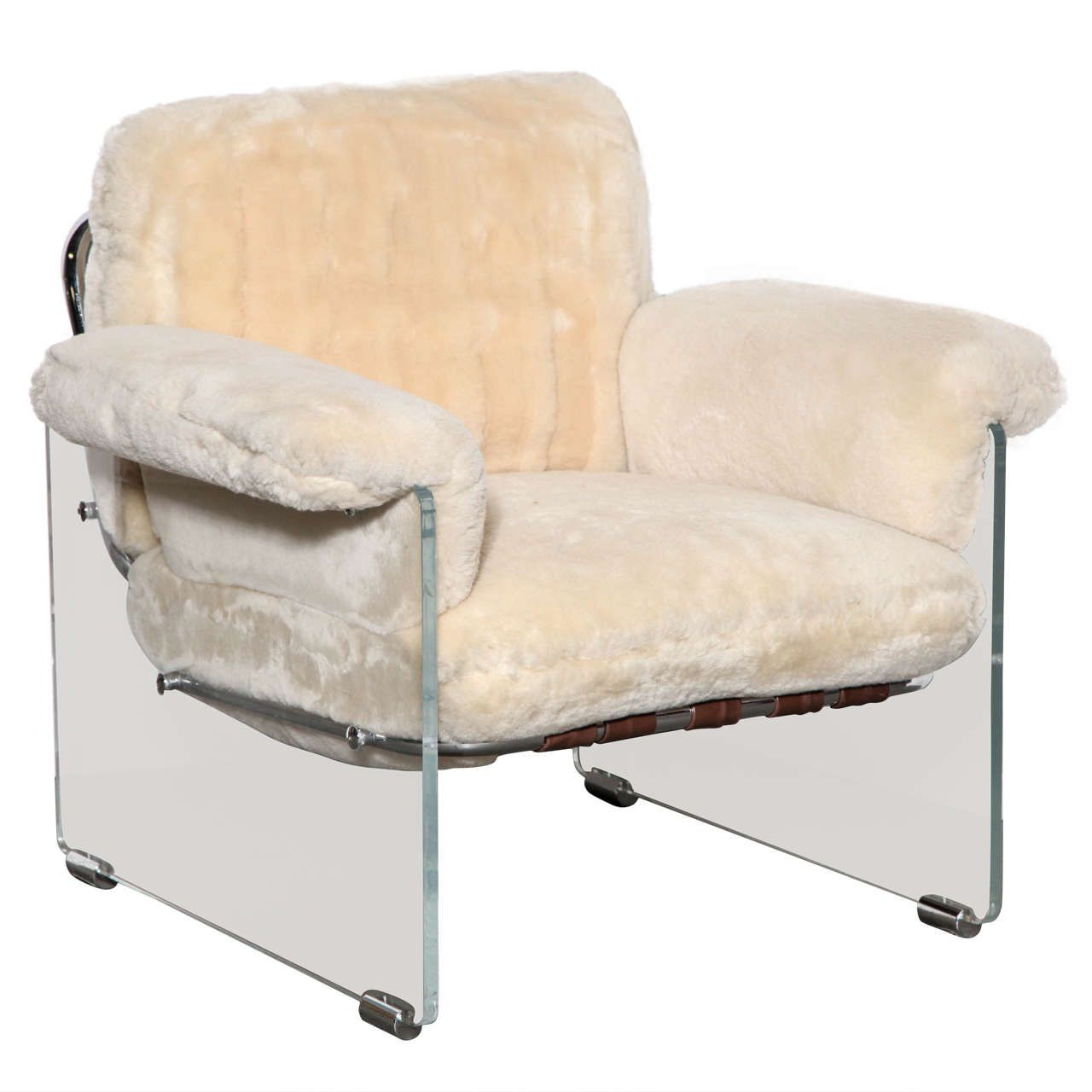 Magic Float Accent Chair: Pace Argenta Lucite & Shearling Floating Club Chair