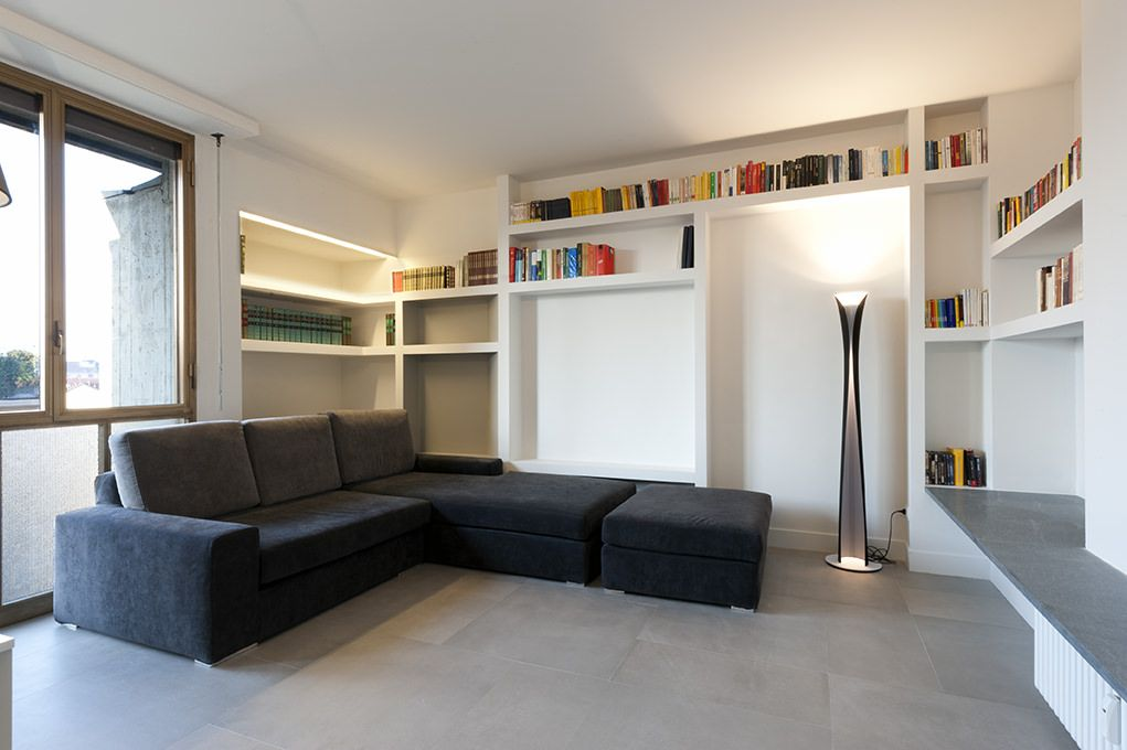 Parete attrezzata in cartongesso per un soggiorno moderno ...