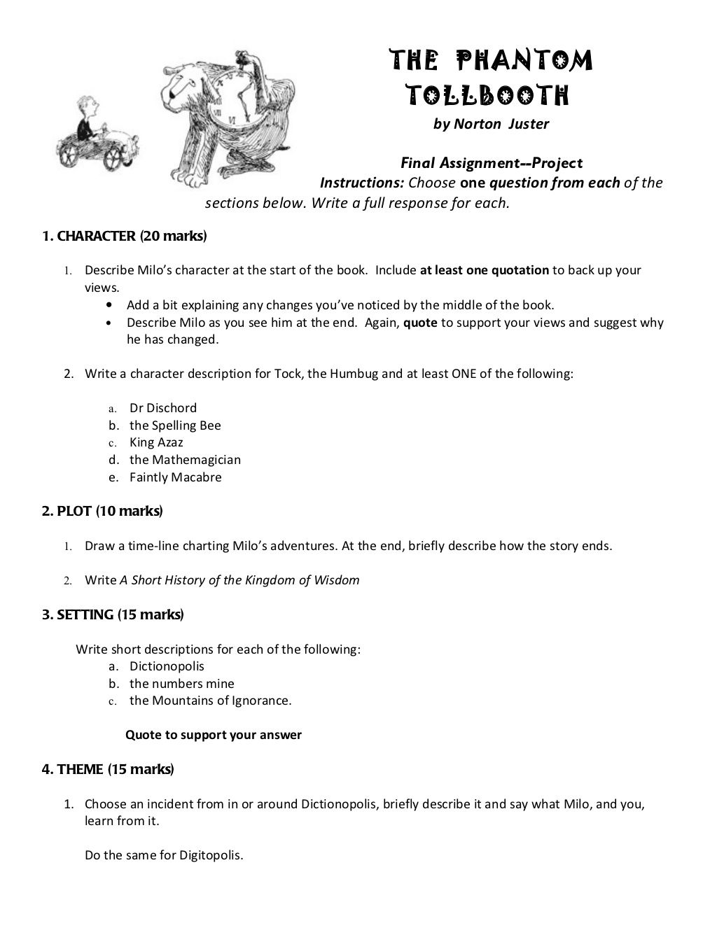 worksheet Phantom Tollbooth Worksheets phantom tollbooth final assignment by mr green via slideshare slideshare