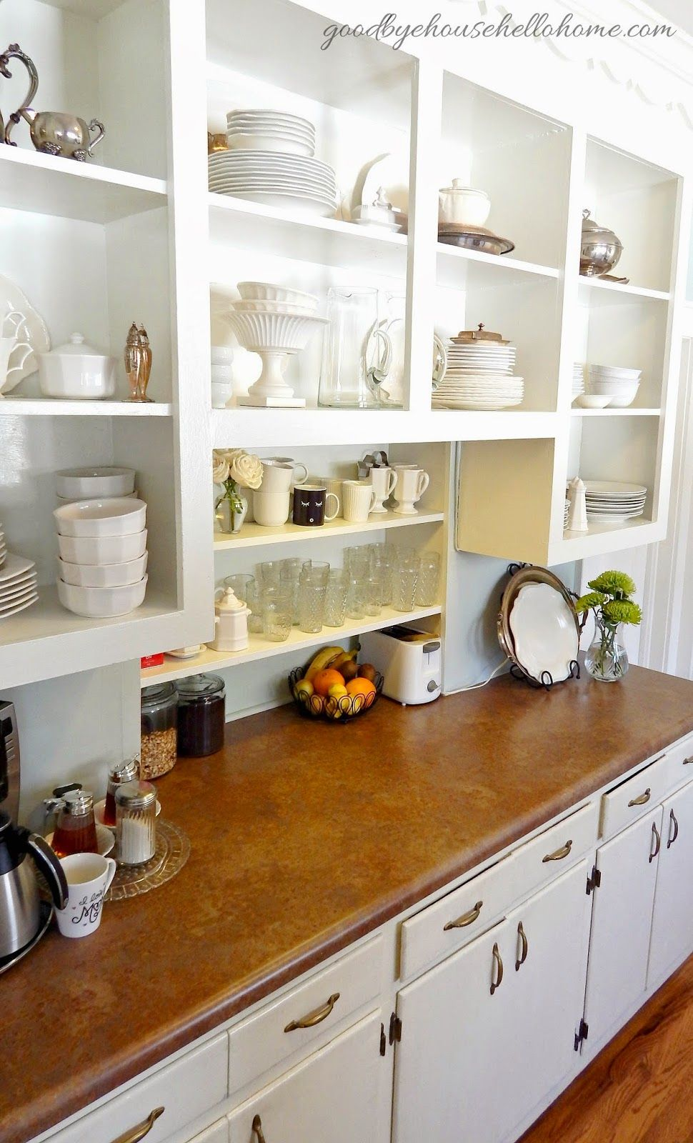 Tiny Craftsman Comes With Espresso Station: Goodbye, House. Hello, Home! Blog : Open Kitchen Cabinets