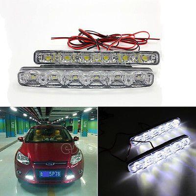 2X DRL 6 LED WORK LIGHT bar Spot offroad 4X4 car SUV truck fog driving Lamps