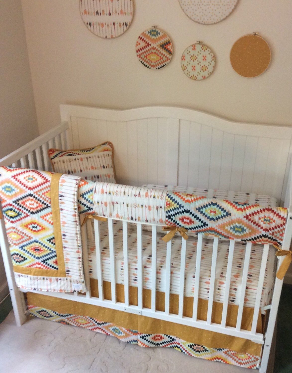 Crib bedding set gray white navy blue with by butterbeansboutique - Arrow Crib Bedding For A Boy Or Girl With Cream Navy Burgundy And Gold