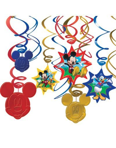 MICKEY MOUSE Fun /& Friends HANGING SWIRL DECORATIONS ~ Birthday Party Supplies