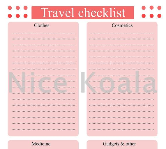 printable travel checklist pdf instant download от nicekoala